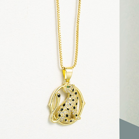 fashion geometric copper micro-inlaid zircon leopard pendent necklace  NHLN355280's discount tags