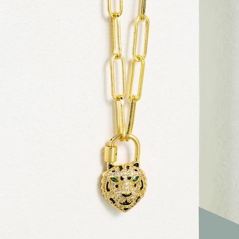 fashion copper micro-inlaid zircon tiger shape pendant necklace  NHLN355281's discount tags