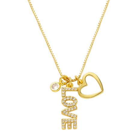 fashion heart-shaped LOVE monogram pendant copper inlaid zircon necklace NHLN355282's discount tags