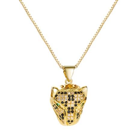 fashion copper micro-inlaid zircon hollow leopard head pendant necklace NHLN355283's discount tags