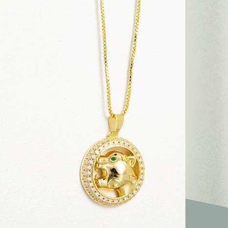 Collar de circón con incrustaciones de cobre con colgante de cabeza de leopardo redondo hueco de moda NHLN355284's discount tags