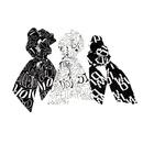 Korean style printed geometric letter streamer hair scrunchies NHCL355298