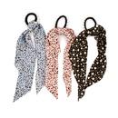 fashion leopard print ribbon fabric printed pearl hair scrunchies NHCL355309