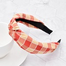 Korea new fashion style classic color matching rainbow plaid headband  NHCL355318