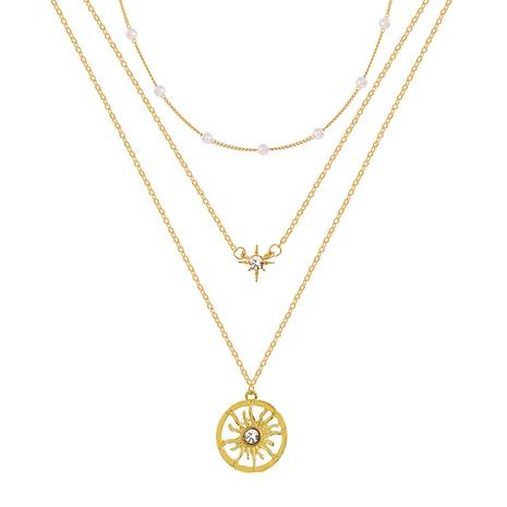 Collar de múltiples capas con colgante de sol simple de perlas NHYI355319's discount tags