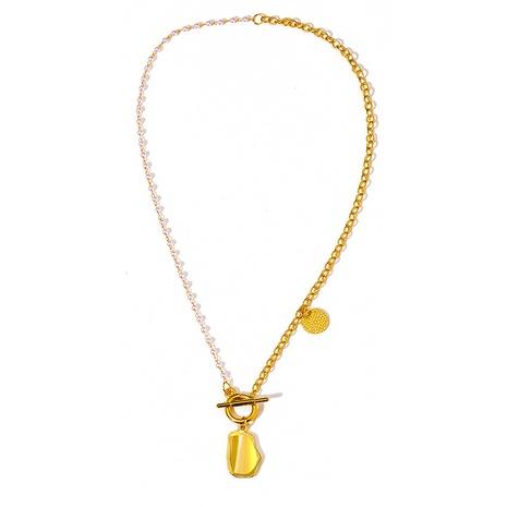 collar colgante de metal irregular de disco de perlas de moda NHYI355320's discount tags
