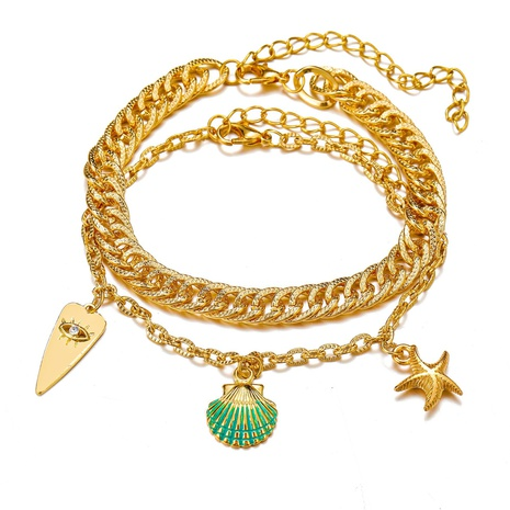 creative simple fashion chain metal starfish shell anklet NHYI355323's discount tags