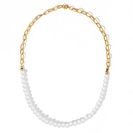 collar de cadena de empalme de metal perla de color de contraste de moda NHYI355324's discount tags