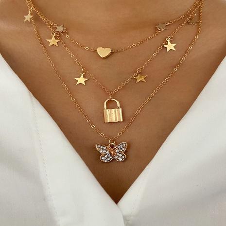 collar colgante de estrella de bloqueo de mariposa de moda al por mayor NHYI355327's discount tags
