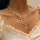 simple silver iron multilayer alloy necklace wholesale  NHPJ355334