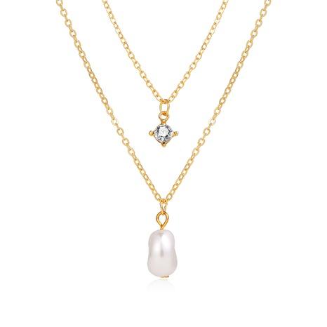 collar de múltiples capas con incrustaciones de diamantes de imitación retro perla hilo de oro colgante NHPJ355336's discount tags