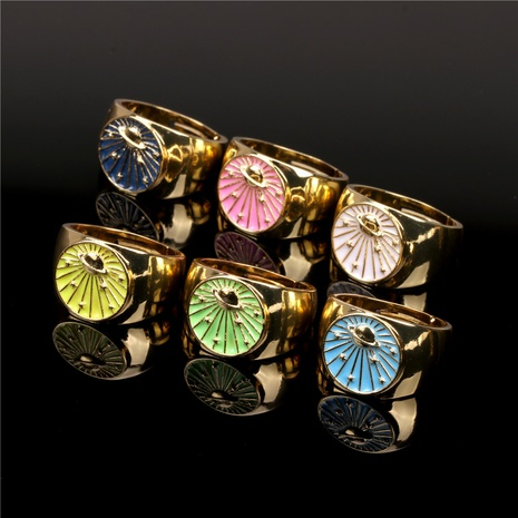 fashion planet drip oil copper ring wholesale  NHPY355351's discount tags