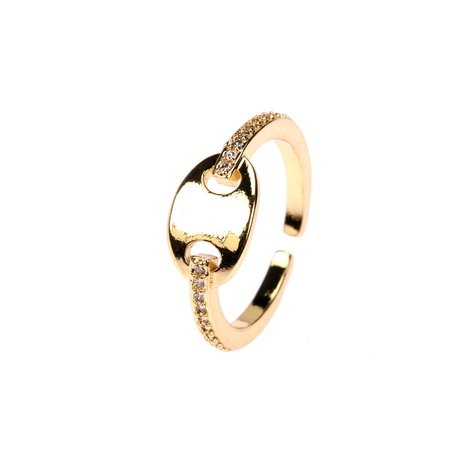 fashion pig nose diamonds opening adjustable ring NHPY355354's discount tags