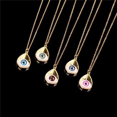 Fashion Devil's Eye Copper Gold-plated Pendant Short Necklace  NHPY355369's discount tags
