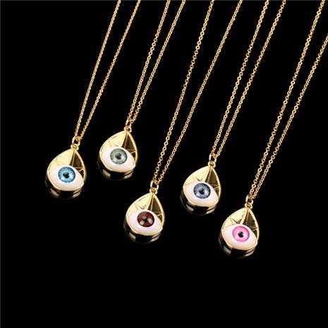 Collar corto con colgante chapado en oro de cobre y ojo de diablo de moda NHPY355369's discount tags