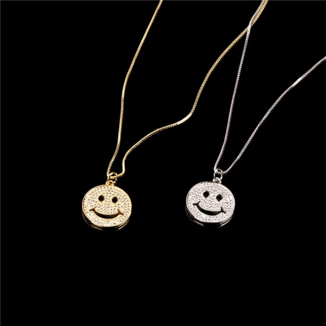 fashion diamond smiley face copper gold-plated pendant necklace NHPY355370's discount tags