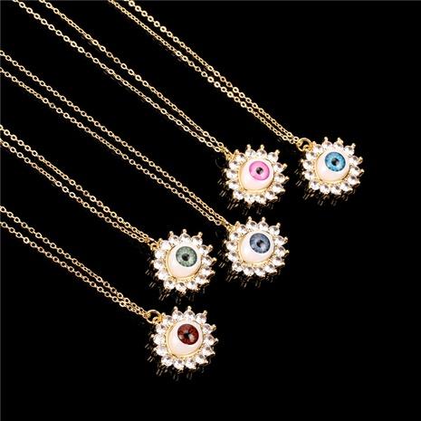 Fashion Demon Eyes Color Zircon Pendant Copper Necklace  NHPY355372's discount tags