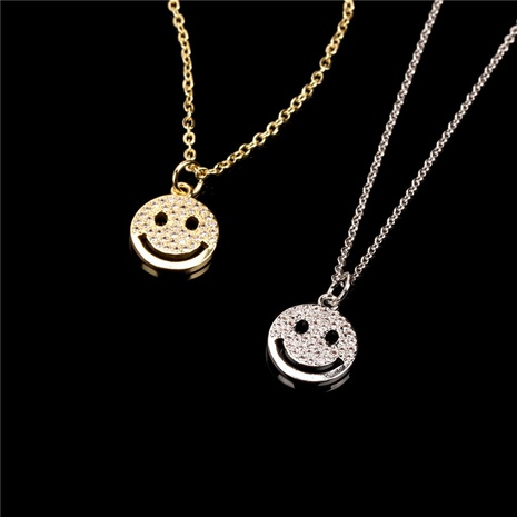 wholesale fashion smiley face round pendent necklace  NHPY355373's discount tags