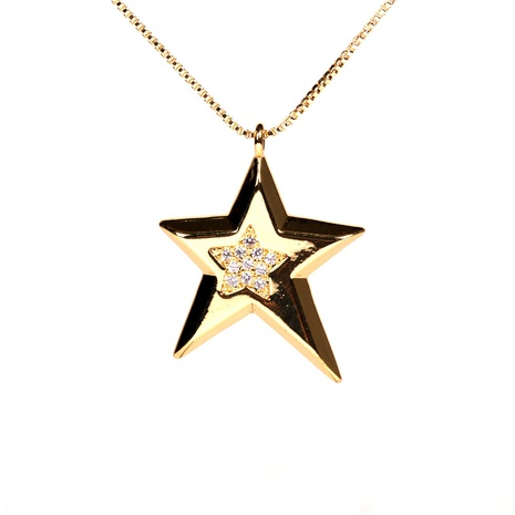 fashion diamond five-pointed star copper necklace NHPY355374's discount tags