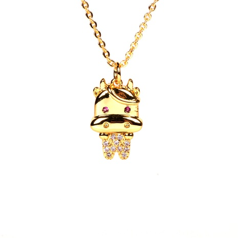 fashion copper gold-plated zodiac calf diamond pendant necklace NHPY355376's discount tags