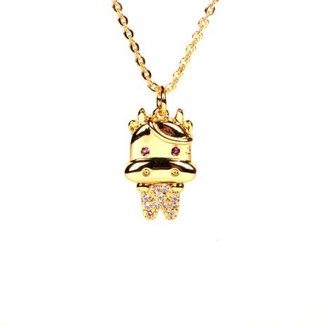 collar con colgante de diamantes de becerro zodiaco chapado en oro de cobre de moda NHPY355376's discount tags