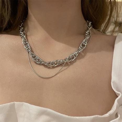 collar multicapa sinuoso de cadena gruesa de moda NHYQ355402's discount tags