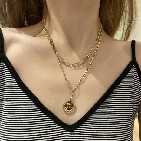 collar de doble capa con colgante de moneda de oro de moda NHYQ355403's discount tags