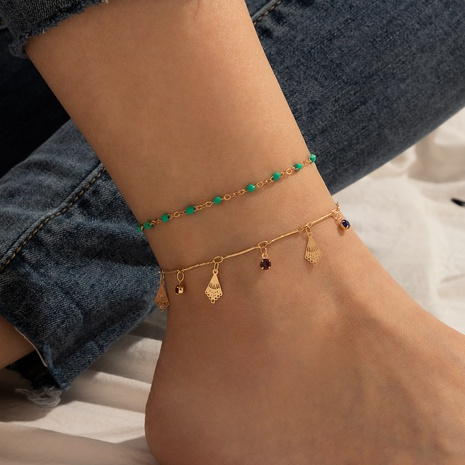 bohemian beach style fashion rice beads diamond double layer anklet NHGY355427's discount tags