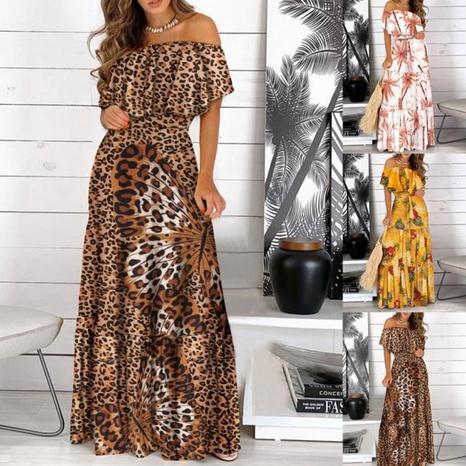 robe longue à la mode un mot col taille haute grande balançoire NHUO355421's discount tags