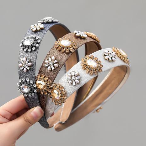 Modestoff Diamant eingelegte Perle Blumen breitkrempigen Stirnband NHJE355481's discount tags