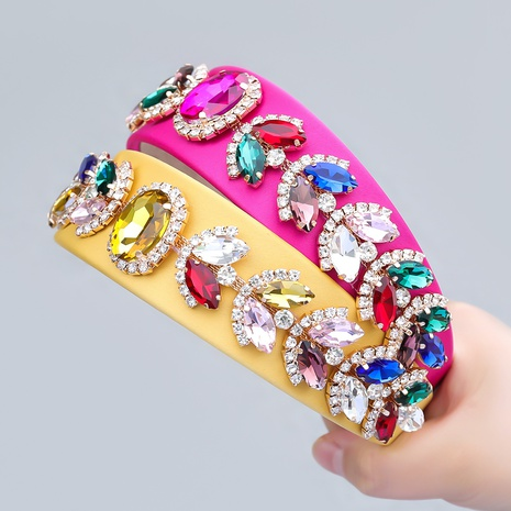 Retro Stoff Strass Glas Diamant Blume Stirnband NHJE355477's discount tags