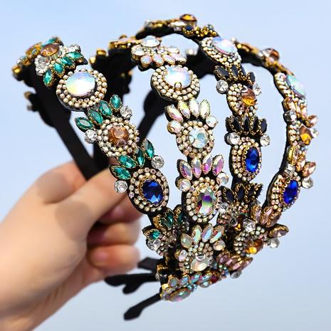geometrisches Blumenstirnband aus Retro-Flanelllegierung mit Diamanten NHJE355480's discount tags