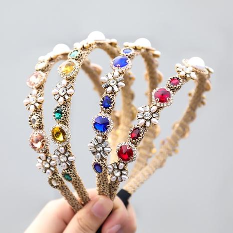 Retro Legierung Diamant eingelegte Perle geometrische Blume Stirnband NHJE355484's discount tags