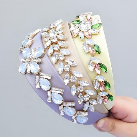 Retro-Stoff Diamant besetzt Glas Diamant Blumen Stirnband NHJE355485's discount tags
