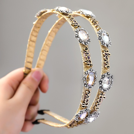 Mode Legierung ovalen Glas Diamant Buchstaben LIEBE Stirnband NHJE355486's discount tags