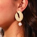 Korean simple gold shaped oval natural freshwater bread pearl earrings NHAN355532
