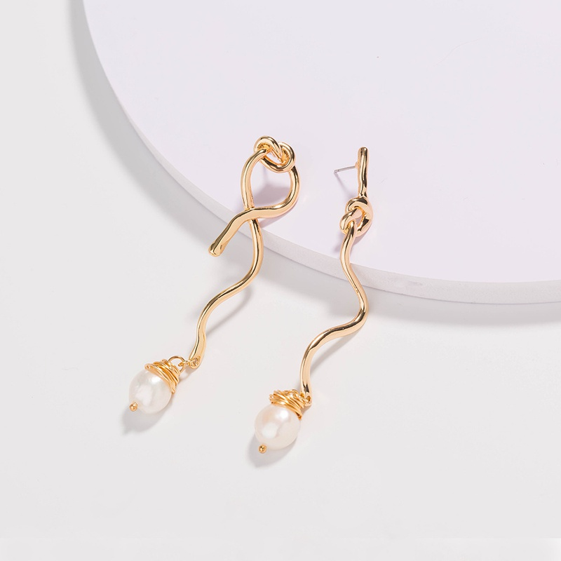 New fashion style knotted natural freshwater pearl earrings NHAN355541