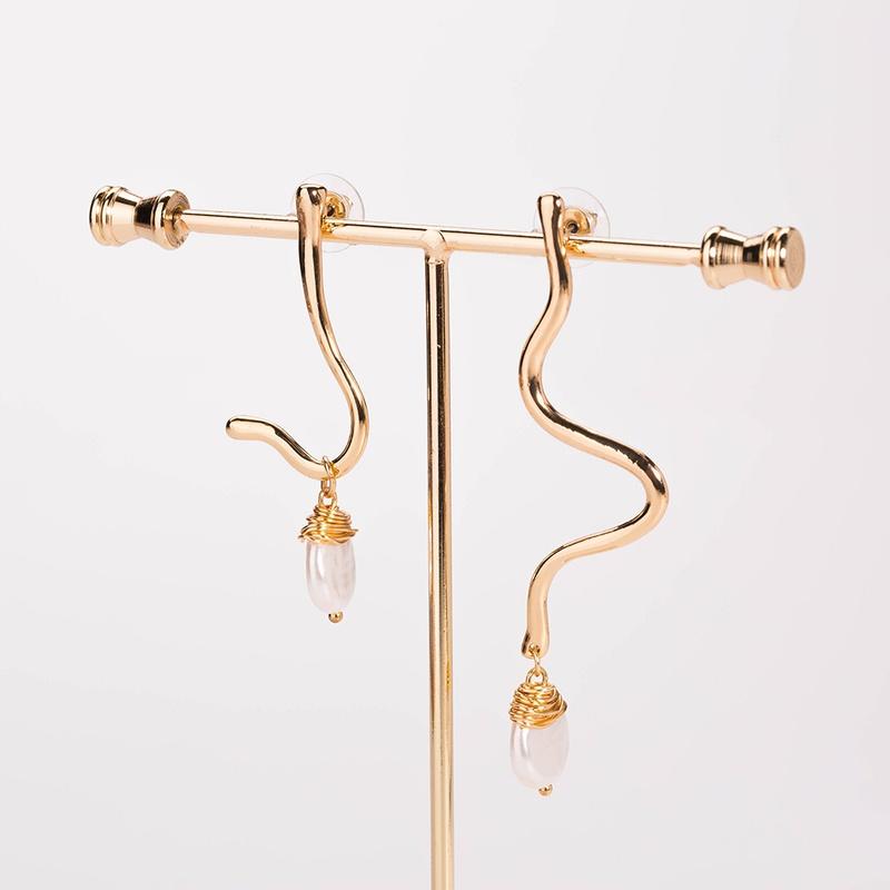 Simple fashion natural freshwater pearl earrings NHAN355546