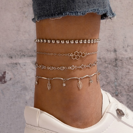 Bohemian style fashion leaves simple geometric anklets 4-piece set NHGY357025's discount tags