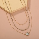 Simple crystal cluster pendant rhinestone claw chain multilayer necklace NHAN355563