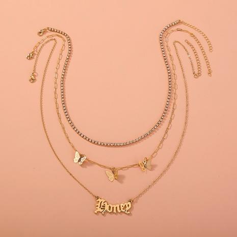 Mode Schmetterling Strass Kette Brief mehrschichtige Halskette NHAN355571's discount tags