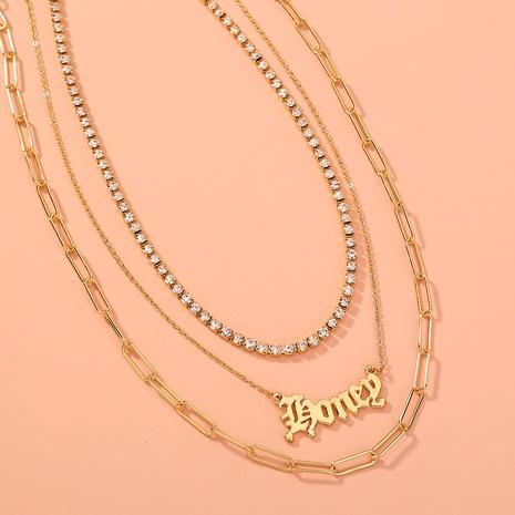 Mode einfache Brief mehrschichtige Kette Halskette NHAN355572's discount tags