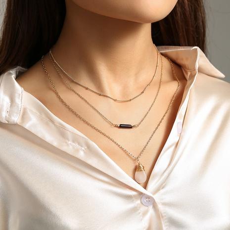 Mode Wassertropfen Naturstein Long Tube Anhänger Mehrschichtige Halskette NHAN355570's discount tags