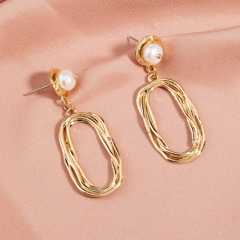 simple fashion style natural freshwater flat pearl earrings NHAN355587