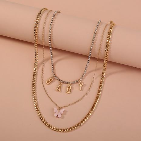 Einfache rosa Acryl Schmetterling Brief Anhänger mehrschichtige Halskette NHAN355626's discount tags