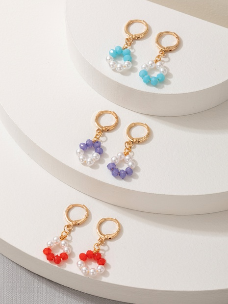 korean fashion new romantic pearl colorful beads earrings 3-piece set NHGY357022's discount tags