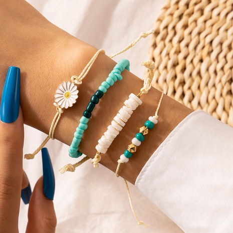 New Bohemian Fashion Flower Braided Bracelet 4-Piece Set NHGY357021's discount tags
