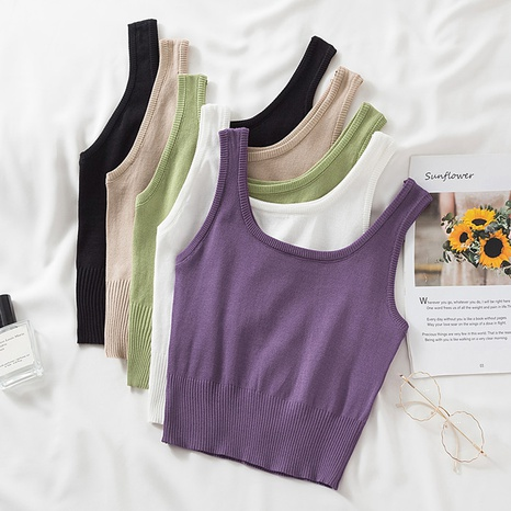 petite camisole tricotée courte de couleur unie de style décontracté NHZN356109's discount tags