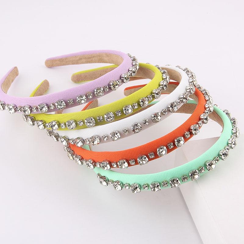 Korean fabric inlaid with rhinestones thin headband NHWJ355883