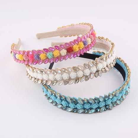 Koreanisches dünnes Streifen-Diamant-Farb-Porzellan-Blumen-Stirnband NHWJ355886's discount tags